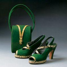 Green Vintage 1940 Shoes