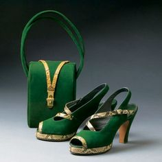 Snakeskin and Imitation #Green Suede Heels and Handbag, 1944.