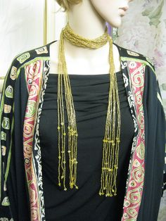 Gold Glass Bead Lariat Necklace Vintage Long ~ Braided Glass Flapper Style Long Necklace Belt ~ Vintage Gold Tassel Necklace by JewelryGenealogy on Etsy