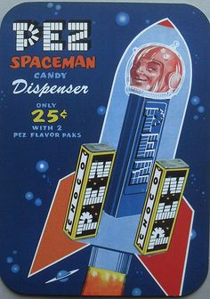 1950s PEZ Dispenser SPACEMAN Outer Space Vintage Advetisement Illustration Reprint