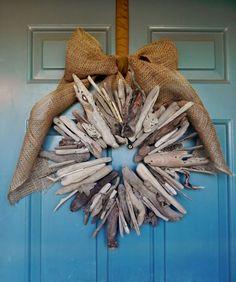 Driftwood Wreath  Burlap Driftwood Wreath  21'' by RedRobynLane, $45.00