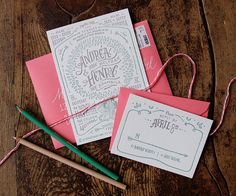 """Andrea + Henry's Illustrated """"The Giving Tree"""" Wedding Invitations"""
