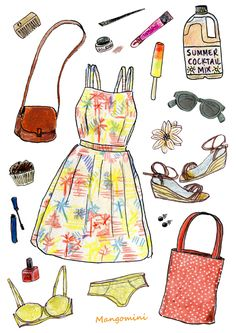 Picnic time! Dress and bag, vintage – sunglasses, shoes and underwear, H&M.