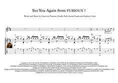 See You Again from FURIOUS 7 guitar score (no rap version) for Classical Guitar (fingerstyle) with tablature, with downloadable mp3 for audio help. Eight pages