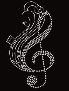 Free shipping USA Music Treble Clef and Notes by MySpecialTshirts Rhinestone  Art 51117f633184