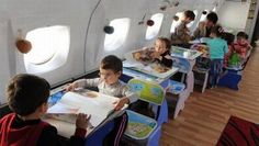 Retired airplane repurposed into cool kindergarten classroom in Rustavi, Georgia
