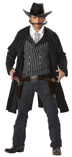 Old West Theme: The handlebar mustache is a must for every dignified gunslinger in the west. But if you can't bring yourself to go quite that far, wearing black and gray jacket, pants, and vest paired with a white shirt still achieves the desire look.