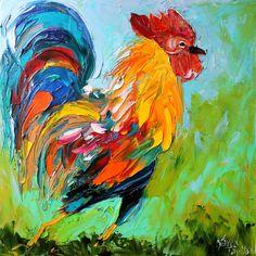 Original #Rooster on the Run palette knife by Karensfineart on Etsy