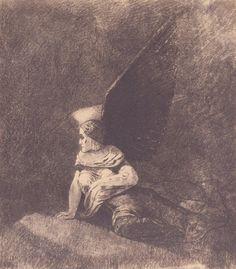 Odilon Redon. L'ange déchu. Fusain