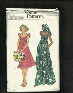 62591dba 1970's Vogue 9745 Empire Waist Country Western Sun Dress 1970s, Bodice,  Cap, Dresses