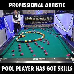 This pool player has got amazing skills!