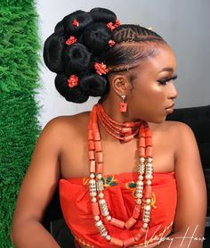We're Queening with This Igbo Bridal Beauty Inspiration Traditional Wedding Attire, African Traditional Wedding, African Traditional Dresses, African Braids Hairstyles, Braided Hairstyles, African Wedding Hairstyles, Bridal Beauty, Bridal Hair, Igbo Bride