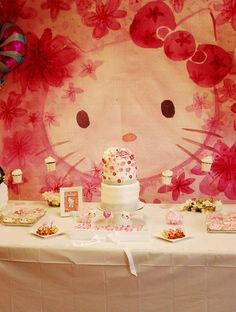 """Hello Kitty Birthday Party All styling by Kurabiiki Parties USA Silviyas details about this amazing Hello Kitty themed party are. """"After our visit at Sanrio Puroland (Tokyo) Elizabeth became… Hello Kitty Theme Party, Hello Kitty Themes, Hello Kitty Cake, Hello Kitty Birthday, Birthday Party Desserts, Birthday Games, Birthday Party Decorations, 1st Birthday Parties, Girl Birthday"""