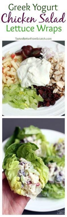 Greek Yogurt Chicken Salad Lettuce Wraps from TastesBetterFromScratch.com