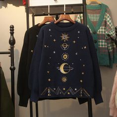 pictures of galaxies from hubble Beautiful Outfits, Cool Outfits, Fashion Outfits, Diy Vetement, Kawaii Clothes, Black And Navy, Aesthetic Clothes, My Style, Sweaters