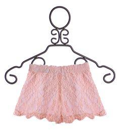 Un Deux Trois Tween Girls Lace Shorts in Peach
