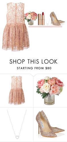 """Без названия #1087"" by asmin ❤ liked on Polyvore featuring RED Valentino, Tiffany & Co., Jimmy Choo and Charlotte Tilbury"
