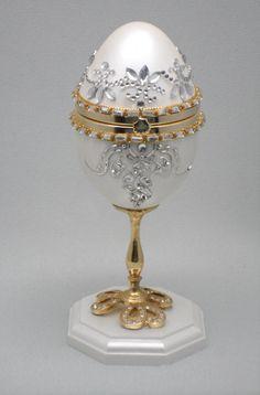 White Egg Jewelry Box Wedding Ring Box by NatalieOrigStudio