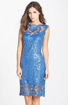 Tadashi Shoji Sequin Illusion Lace Dress (Regular & Petite) available at #Nordstrom