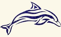 This beautiful Mosaic Islander Dolphin is designed to be easily installed on a interior or exterior wall or inserted in the pool prior to plastering. Ocean Tattoos, Tribal Tattoos, Scrabble Tile Art, Mosaic Tile Art, Mosaics, Dolphins Tattoo, Beach Art, Silhouette Cameo, Swimming Pools