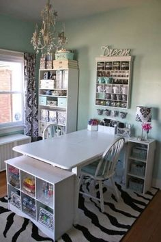 "Want want want - Sewing room -- a necessity in my future home. Easy DIY desk out of cube storage! awesome idea! Love the window, too, makes everything look more ""real"" when quilting!"