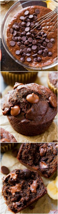 These healthy and easy whole wheat double chocolate banana muffins taste like chocolate cake and brownies for breakfast! (Whole Wheat Chocolate Muffins) Brunch Recipes, Sweet Recipes, Dessert Recipes, Chocolate Banana Muffins, Chocolate Cake, Banana Treats, Chocolate Chips, Healthy Baking, Healthy Desserts