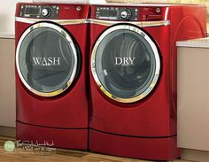 Wash Dry  Laundry Room Decor  Vinyl Lettering  by thestickerhut