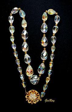 Wedding Cake Pendant Necklace Earring Demi Set Blue Glass Beads Gold Chains Vintage Art Deco