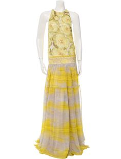 eb103b4d49 Yellow and ivory Giambattista Valli sleeveless silk gown with abstract