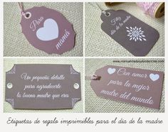 Etiquetas regalo para el día de la madre / Mother's day gift tags www.manualidadesytendencias.com  #díadelamadre #freebies #imprimibles Craft Box, Love Craft, Homemade Gifts For Girlfriend, Hang Tags, Gift Tags, Decoupage, Arts And Crafts, Place Card Holders, Printables