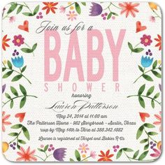 Linen Blossoms - Baby Shower Invitations - Bonnie Marcus - Bloom - Pink : Front
