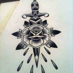 Dagger X Rose tattoo design