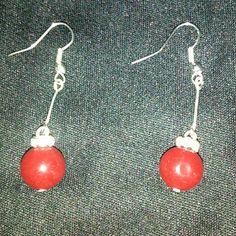 Earrings Red/ silver drop earrings Jewelry Earrings