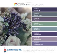 I found these colors with ColorSnap® Visualizer for iPhone by Sherwin-Williams: Dewberry (SW 6552), Granite Peak (SW 6250), Plummy (SW 6558), Parisian Patina (SW 9041), Poolhouse (SW 7603), Izmir Purple (SW 6825), Berry Cream (SW 9075), Forget-Me-Not (SW 6824).