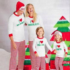 Family Match Men Women Kids Baby Christmas Sleepwear Nightwear Family  Clothing Pyjamas Pajamas Suit Fashion Set 39c6571a0