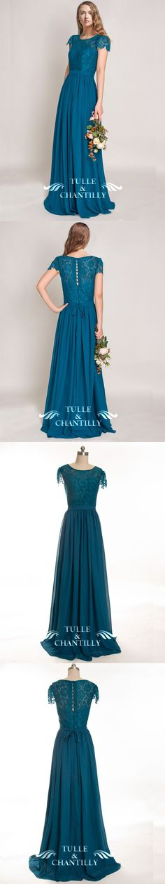teal lace and chiffon bridesmaid dress with cap sleeves
