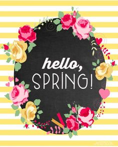 Hello Spring Free Printable via Happiness is Homemade