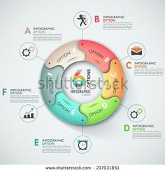 Modern infographics options banner with 6-part round ribbon. Vector. Can be used for web design and  workflow layout - stock vector