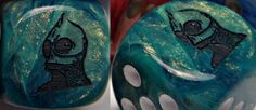 """Sleestack custom Dice from the TV show """"Land of the Lost"""" by Sid and Marty Kroft, emblem is engraved on side 6. $3.99 CatMonkeyGames@aol.com"""