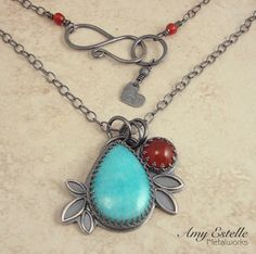 Statement Necklace - One of a Kind - Amazonite Carnelian Sterling Silver Necklace by Amy Estelle Metalworks