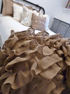 Burlap ruffled throw.