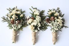 Rustic Boutonniere Winter boutonniere Woodland wedding boutonniere Groomsmen buttonhole flower pinecone boutonniere christmas wedding ELF Rustic Boutonniere Winter boutonniere by WildRoseAndSparrow Boutonnieres, Winter Boutonniere, Rustic Boutonniere, Feather Boutonniere, Winter Bouquet, Winter Wedding Receptions, Winter Wedding Decorations, Winter Wedding Flowers, Wedding Colors