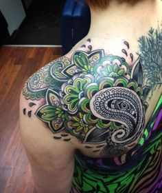 tattoo cover up with flower and paisley - Google Search