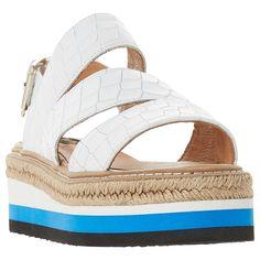 buy online c197c 4cc13 BuyDune Black Look Espadrille Trim Stripe Stacked Flatform Sandal,  Crocodile White, 4 Online at. johnlewis.com