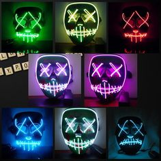 Men's Accessories 1pc Led Mask Atttractive Luminous 7 Colors Dust-proof Bright Light Up Mask Rave Mask For Party Women Men Halloween Year-End Bargain Sale Men's Masks