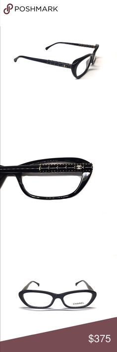"""Chanel eye glasses NWOT New and Never Worn Chanel Optical Glasses  These Eyeglasses Feature a Cute Black Style by Chanel, with Gorgeous Studded Embellishments on the sides and the ICONIC """"CC"""" Logo.  -- MADE IN ITALY - 100% AUTHENTIC CHANEL GLASSES  -- CHANEL BLACK ACETATE  -- GOLD STUDDED EMBELLISHMENT ON EACH SIDE WITH """"CC"""" LOGO (see pictures)  -- SIZE 53mm - PROGRESSIVE PRESCRIPTION OK!… Color:BLACK Brand:Chanel Measurements:5""""L x 2""""H x 5""""W CHANEL Accessories Glasses"""