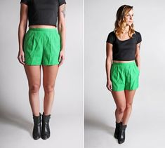 Vintage High Waisted Kelly Green Shorts  Twill by GirlLeastLikely