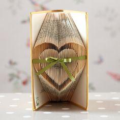 Folded Medium Open Heart Upcycled Book Art by stuffbylosyposy, £25.00