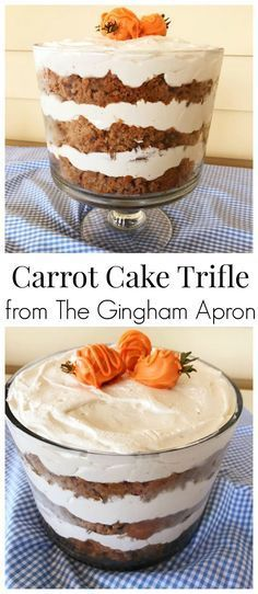 Carrot Cake Trifle- This beautiful desert is easy to make! Your guests will love it! Perfect for Spring and Easter. #easter #carrotcake #trifle #dessert #spring
