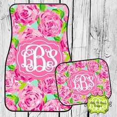 Car Mats Chevron Personalized Monogrammed Floor Car Mat Initial Rose Pink Roses Preppy by LittleBitSassy on Etsy https://www.etsy.com/listing/177349548/car-mats-chevron-personalized